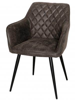 Harley Quilted Vintage Grey Leather Carver Dining Chair