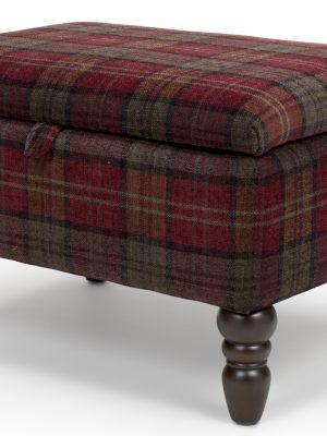 Shetland Claret Red Tartan Storage Footstool