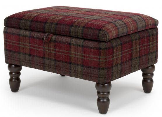 Shetland Red Tartan Storage footstool