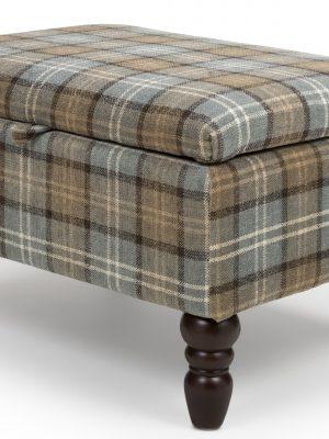 Shetland Dove Grey Tartan Storage Footstool