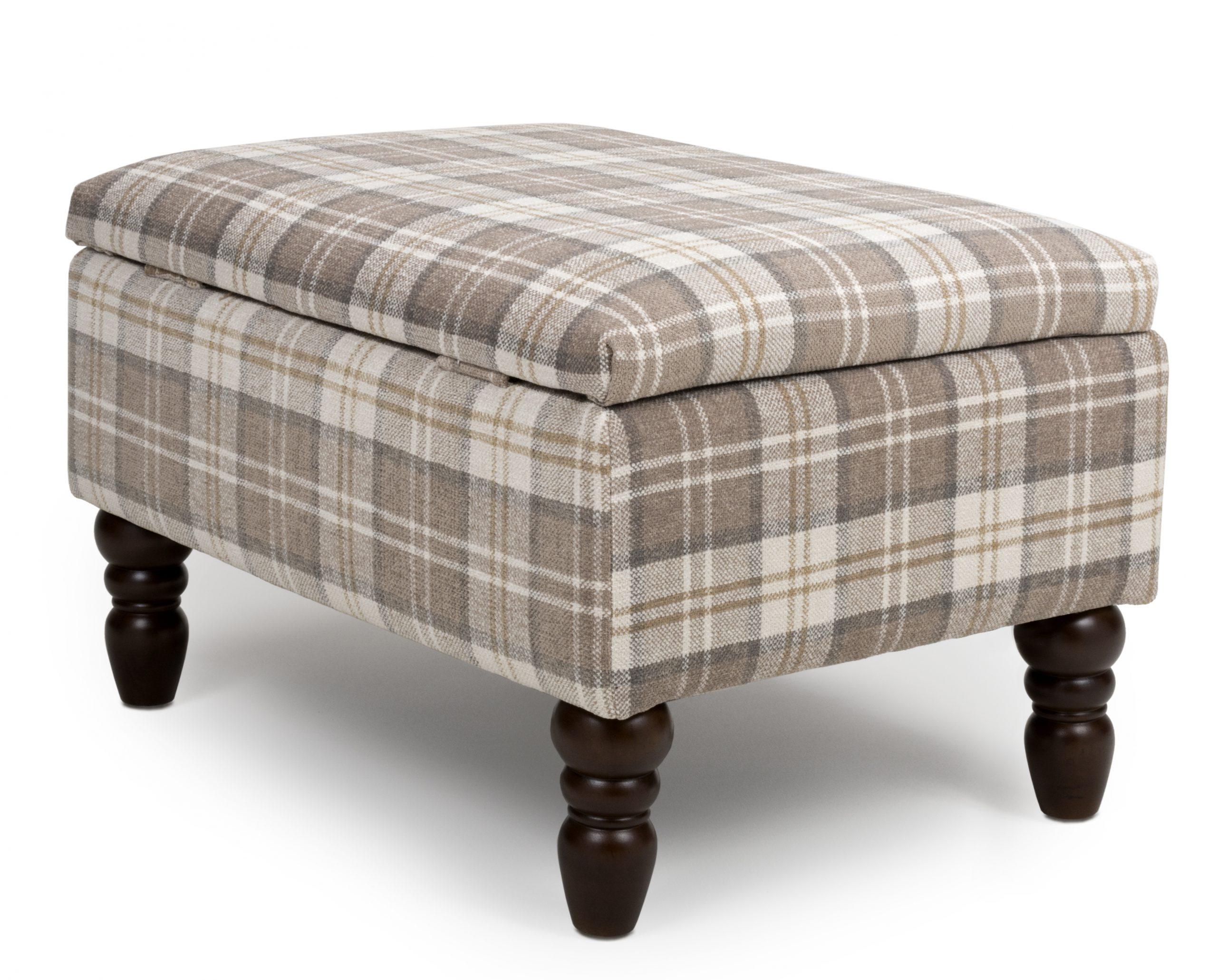 Shetland Latte Tartan storage Footstool