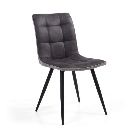 Rodeo Dark Grey Leather modern dining chair