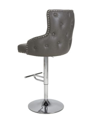 Cairo Vintage Grey Leather Buttoned Back Bar Stool