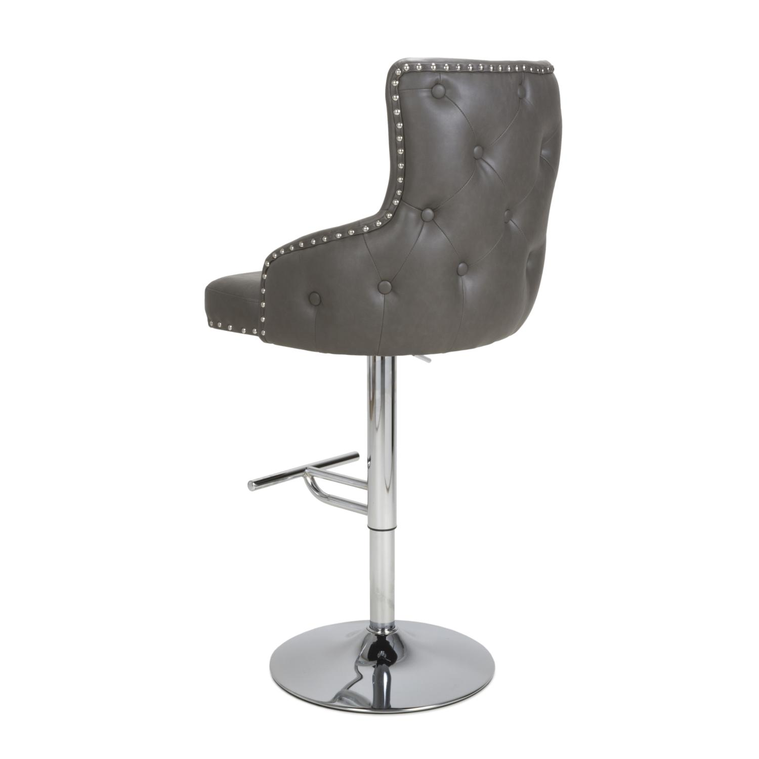 Cairo Vintage Grey Leather Bar Stool