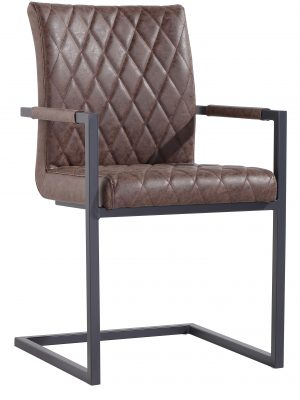 Paris Diamond Quilted Vintage Brown Leather Cantilever Carver Chair