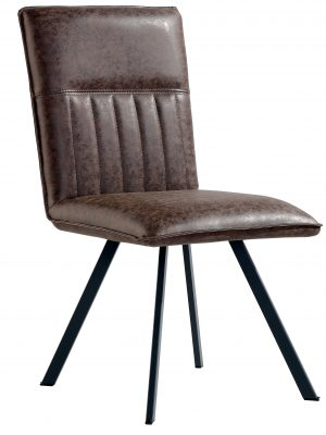 Lyon Vintage Brown Leather Spider Leg Dining Chair