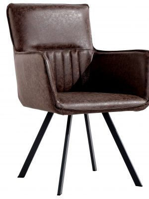Lyon Vintage Brown Leather Spider Leg Carver Dining Chair