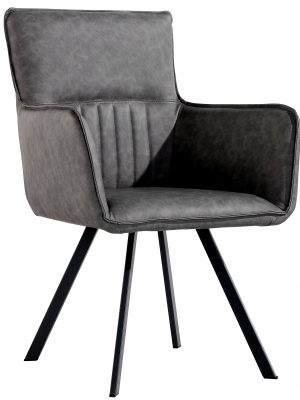 Lyon Vintage Grey Leather Spider Leg Carver Dining Chair