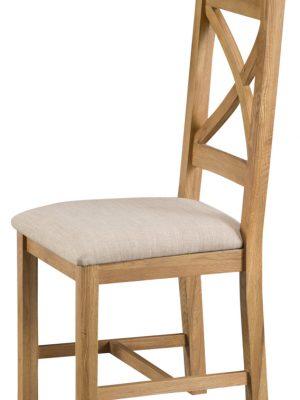 Aspen Cross Back Padded Seat Oak Dining Chair