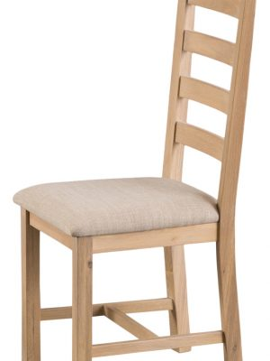 Byron Ladder Back Padded Seat Lime Washed Oak Dining Chair