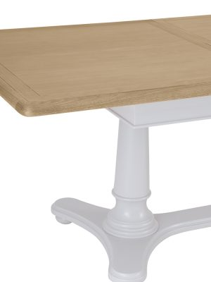 Monet 2.1 Meter Painted Grey Large Extending Dining Table With Oak Top