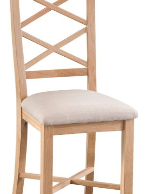 Carlisle Double Cross Back Padded Seat Oak Dining Chair