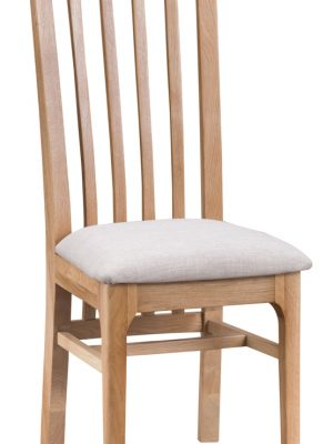 Carlisle Slatted Back Padded Seat Oak Dining Chair