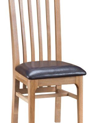 Carlisle Slatted Back Padded Leather Seat Oak Dining Chair