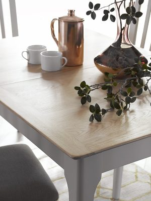 Carlisle Painted Grey 1.2 meter Extending Dining Table With Oak Top