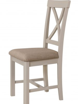 Durham Cross Back Padded Seat Truffle Beige Painted Oak Dining Chair