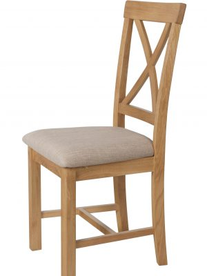 Durham Cross Back Padded Seat Oak Dining Chair