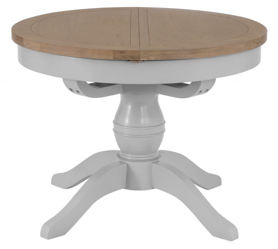 Grey painted round oak extending dining table