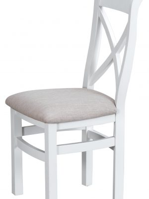 Farrow Cross Back White Painted Dining Chair With Fabric Seat