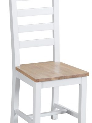 Farrow Ladder Back White Painted Dining Chair With Oak Seat
