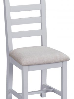 Farrow Ladder Back Grey Painted Dining Chair With Fabric Seat
