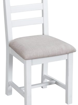 Farrow Ladder Back White Painted Dining Chair With Fabric Seat