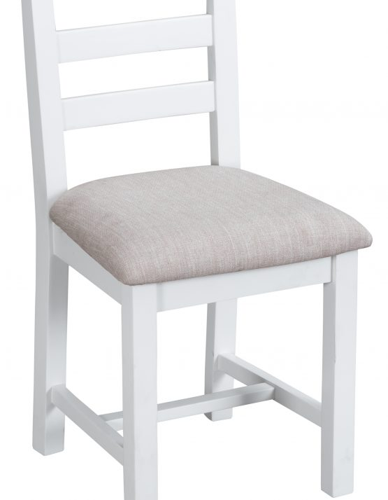 Farrow white painted dining chair with padded seat