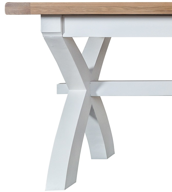 Extra large white painted oak extending dining table