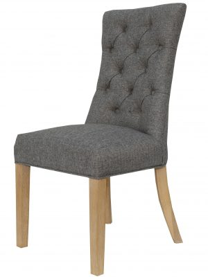 Camberley Button Back Charcoal Grey Fabric Dining Chair