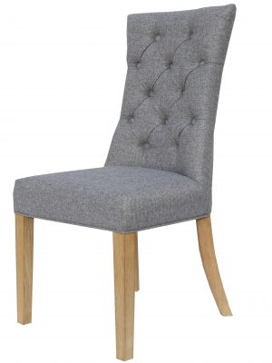 Camberley Button Back Grey Fabric Dining Chair