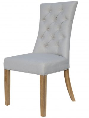 Camberley Button Back Natural Cream Fabric Dining Chair