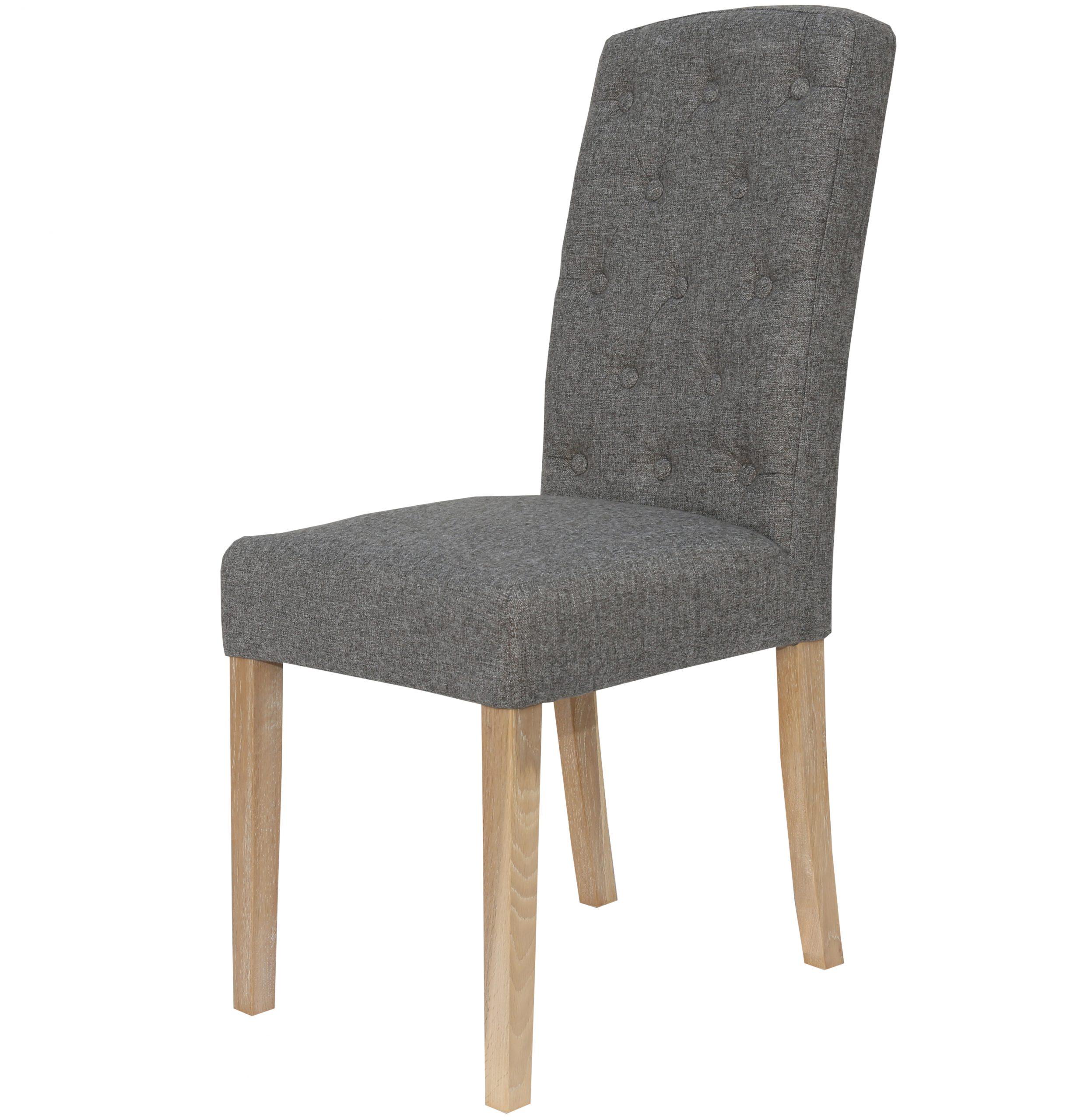 Windsor Dark Grey linen fabric dining chair