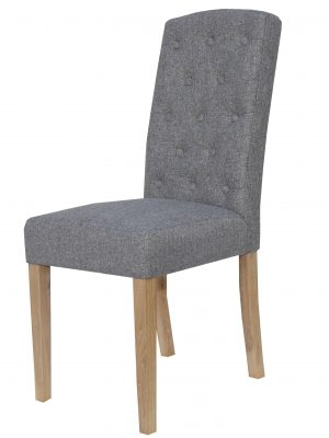 Windsor Arch Top Button Back Grey Fabric Dining Chair