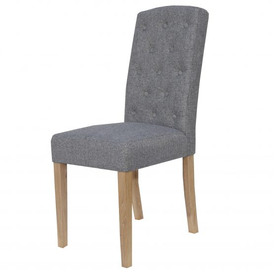 Windsor Grey herringbone fabric dining chair