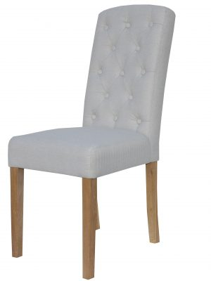 Windsor Arch Top Button Back Natural Cream Fabric Dining Chair