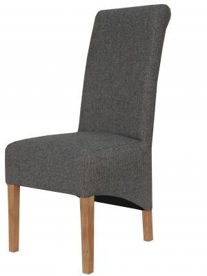 Carter Dark Grey Herringbone Fabric Roll Top Dining Chair