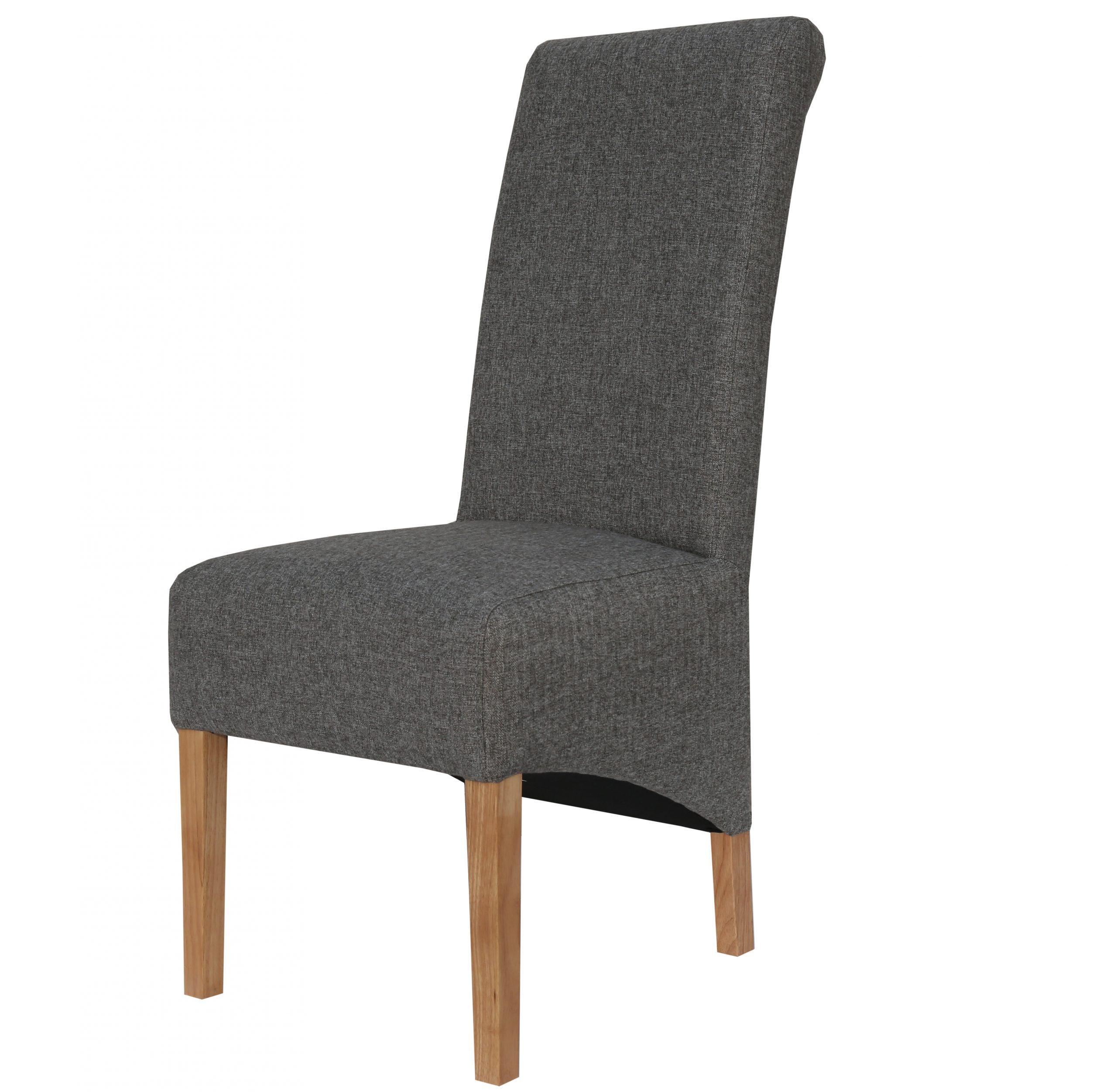 Carter Roll top grey fabric dining chair