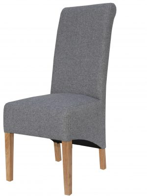 Carter Grey Herringbone Fabric Roll Top Dining Chair