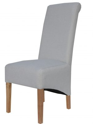 Carter Natural Cream Herringbone Fabric Roll Top Dining Chair