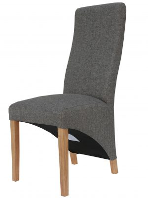 Barker Dark Grey Herringbone Fabric Wave Back Dining Chair