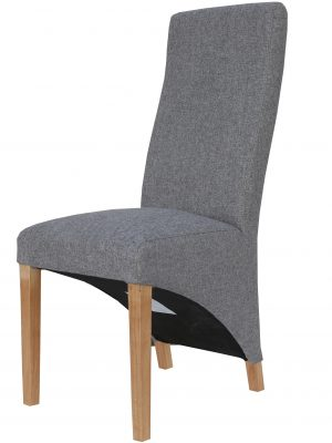 Barker Grey Herringbone Fabric Wave Back Dining Chair
