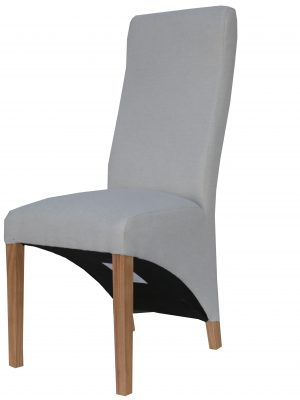 Barker Natural Cream Herringbone Fabric Wave Back Dining Chair