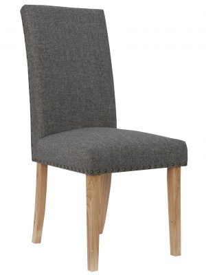 Bromley Charcoal Grey Herringbone Fabric Dining Chair