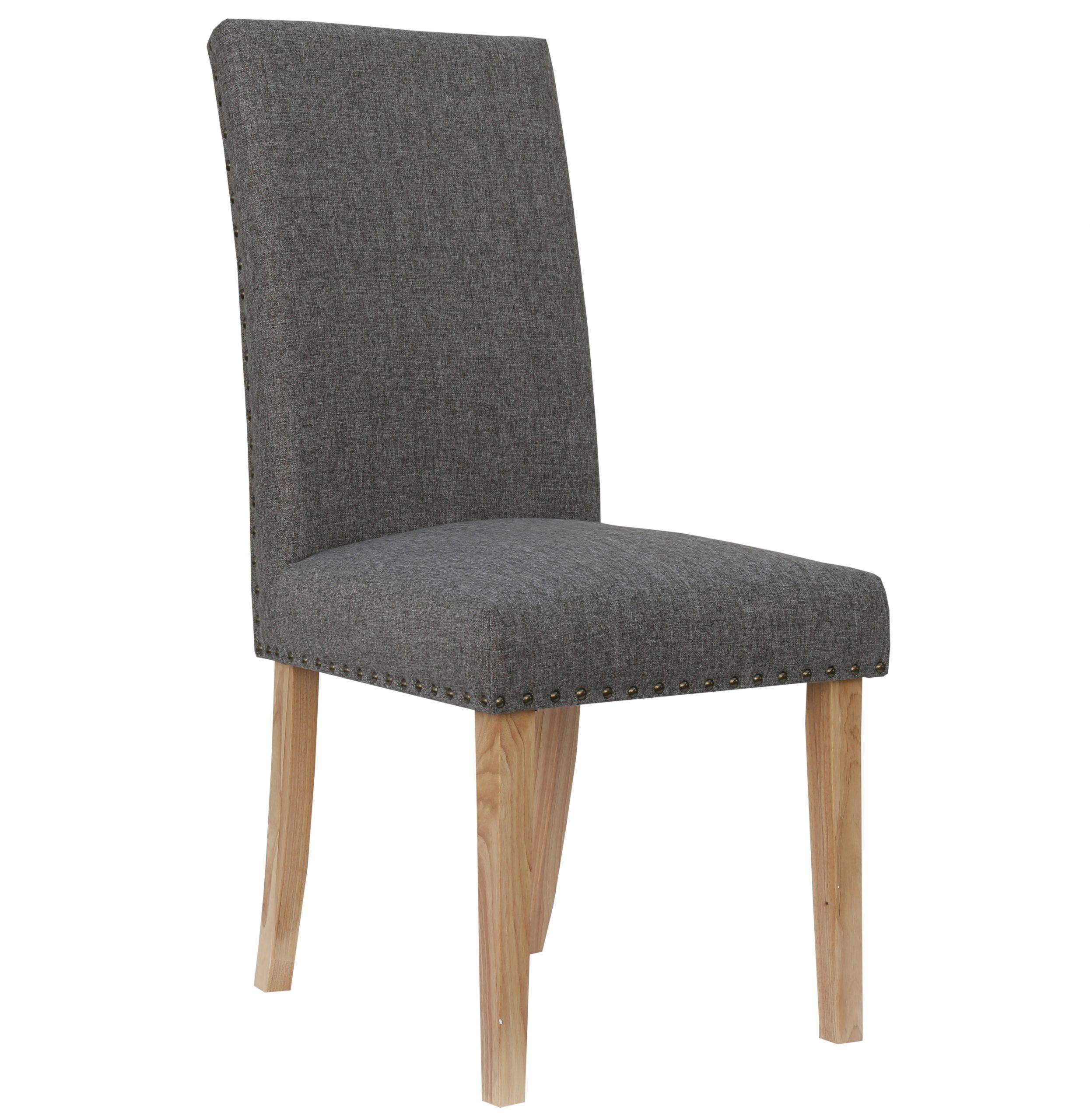 Bromley Dark Grey Herringbone fabric dining chair