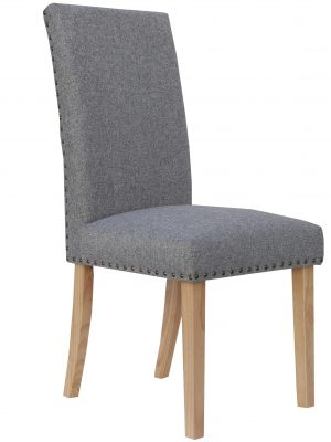 Bromley Grey Herringbone Fabric Dining Chair