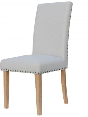 Bromley Natural Cream Herringbone Fabric Dining Chair