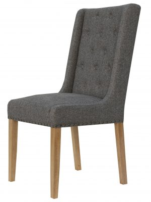 Kensington Button Wing Back Charcoal Grey Fabric Dining Chair