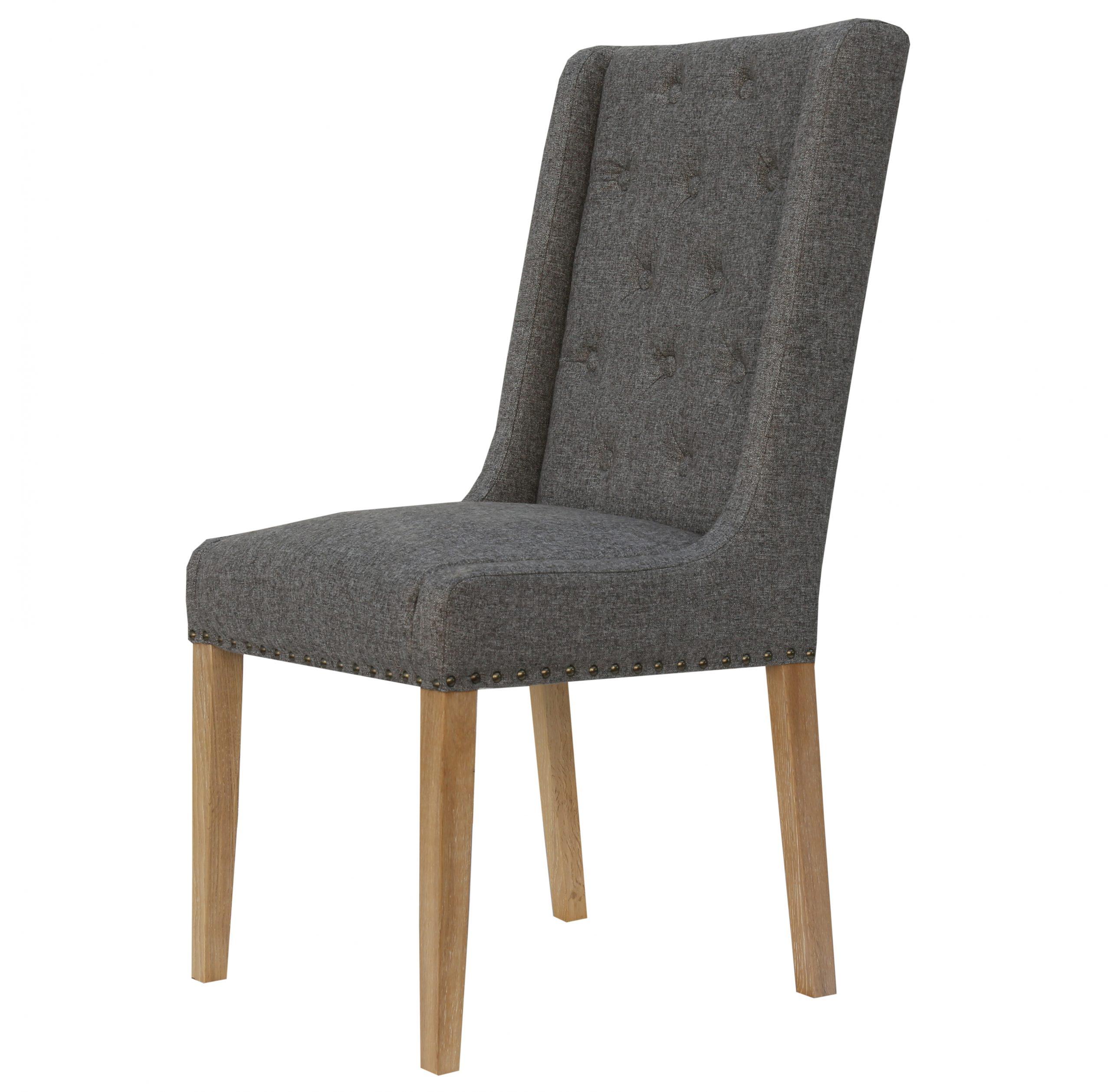 Kensington Wing back button grey linen Dining chair