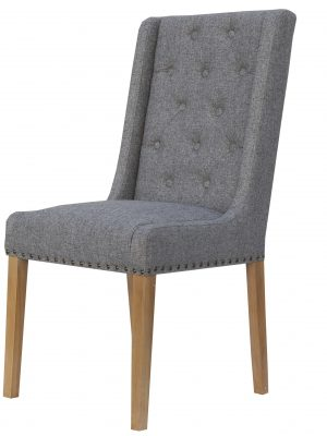 Kensington Button Wing Back Grey Fabric Dining Chair