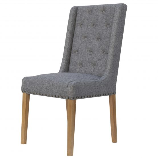 Kensington Grey Herringbone Button wing back dining chair